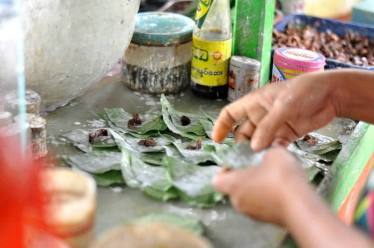 Stalls sell various food products made on the spot- this one is betel nut.