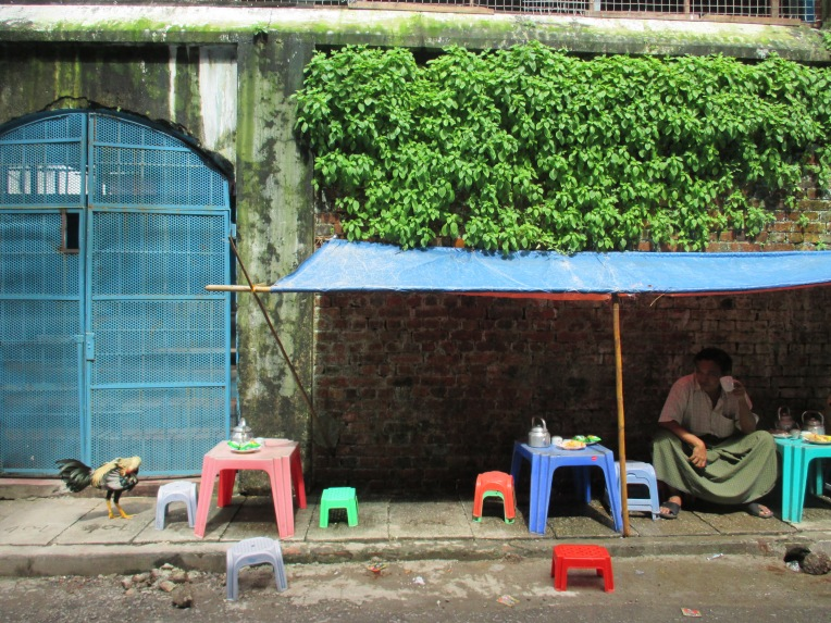 Makeshift outdoor restaurants like this one is the most common option for eating out.