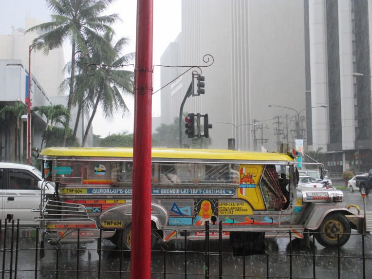 Jeepneys are the most common mode of public transport. Originally made from leftover US military jeeps after WWII, they are now a Filipino icon.