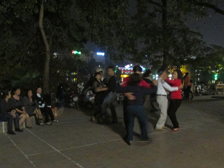 A badminton court at Hoàn Kiếm Lake transforms into a dance floor on Saturday nights.