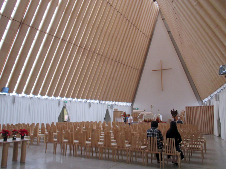 Cardboard Cathedral design by Shigeru Ban opened in 2013 as a transitional church.