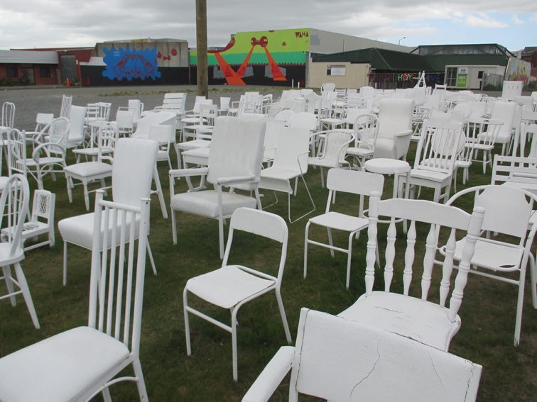 185 Empty Chairs, a temporary installation, invites the locals and tourists to reflect on the lives lost in the earthquake.