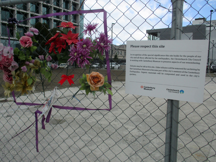 The site of the CTV Building, which killed 115 Canterburians, is commemorated by residents.