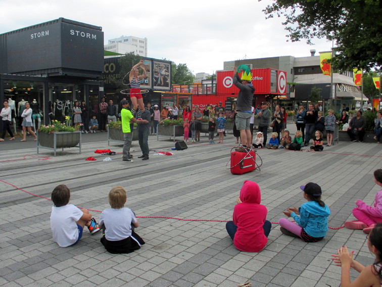World Buskers' Festival takes place on the site of Re:START, CBD's transitional pedestrian mall.