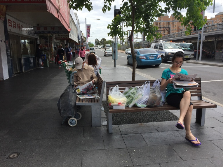 Public seating along S.Parade is well used by shoppers reading cultural papers.